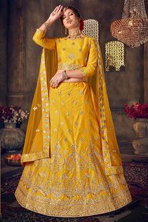Picture of Sensible Yellow Colored Festive wear Lehenga Choli