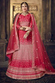 Picture of Aspiring Pink Colored Silk Lehenga Choli