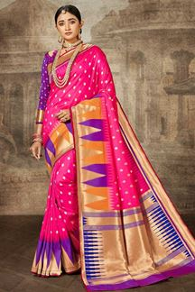 Picture of Pink & Purple Colored Traditional Silk Saree