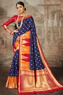 Picture of Blue & Red Colored Traditional Silk Saree