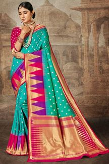 Picture of Blue & Magenta Colored Traditional Silk Saree