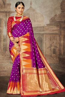 Picture of Purple & Red Colored Traditional Silk Saree