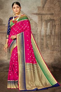 Picture of Pink &Blue Color Silk Traditional Designer Saree