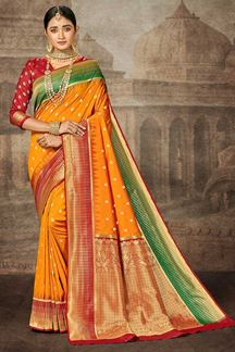 Picture of Yellow & Red Color Silk Traditional Designer Saree