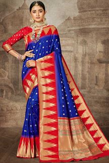 Picture of Blue & Red Colored Weaving Silk Saree
