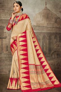 Picture of Cream & Red Colored Weaving Silk Saree