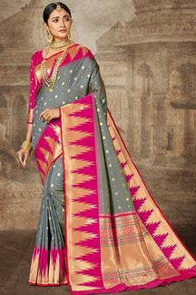 Picture of Grey & Pink Colored Weaving Silk Saree