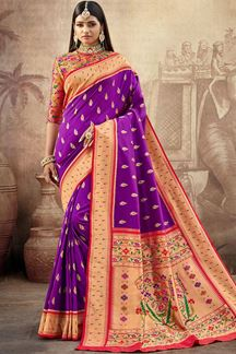 Picture of Purple Colored Silk Paithani Style Saree
