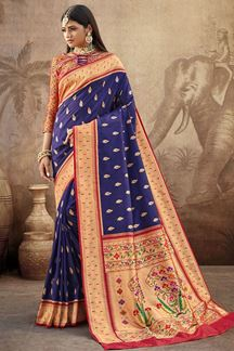 Picture of Blue Colored Silk Paithani Style Saree