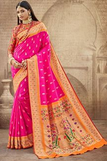 Picture of Pink Colored Silk Paithani Style Saree