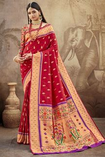 Picture of Red Colored Silk Paithani Style Saree