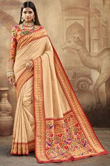 Picture of Stunning Beige Colored Silk Saree