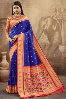 Picture of Traditional Blue Colored Silk Saree