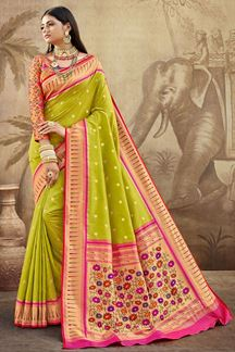 Picture of lemon Green Colored Silk Saree