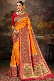 Picture of Glamorous  Orange & Red Colored Silk Saree