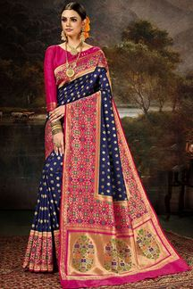 Picture of Glamorous  Blue & Pink Colored Silk Saree