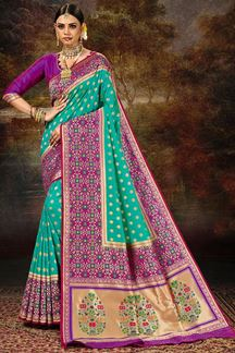 Picture of Glamorous  Blue & Purple Colored Silk Saree