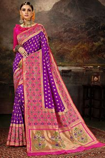 Picture of Glamorous  Purple & Pink Colored Silk Saree