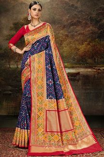 Picture of Classic Blue & Red Colored Silk Weaving Saree