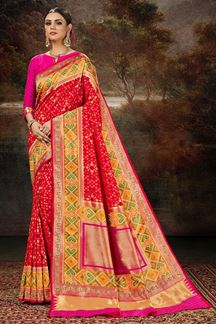 Picture of Classic Red & Pink Colored Silk Weaving Saree