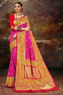 Picture of Classic Pink & Red Colored Silk Weaving Saree