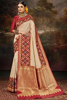 Picture of Demanding Cream Red Colored Weaving Silk Saree