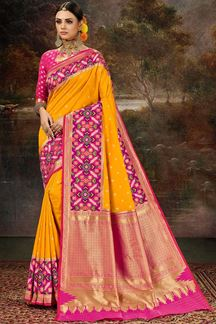 Picture of Demanding Yellow & Pink Colored Weaving Silk Saree