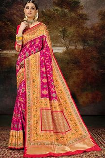Picture of Traditional Pink & Orange Colored Silk Weaving Saree