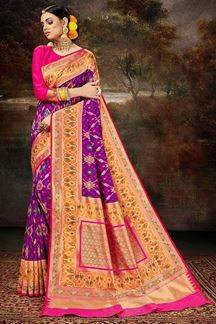 Picture of Traditional Purple & Pink Colored Silk Weaving Saree