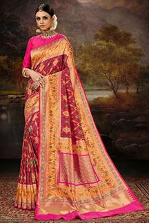 Picture of Traditional Red & Pink Colored Silk Weaving Saree