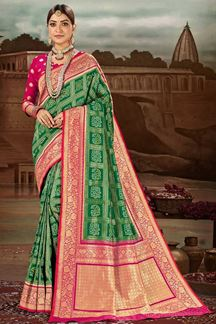 Picture of Gorgeous Green & Pink Colored Festive Wear Banarasi Silk Saree