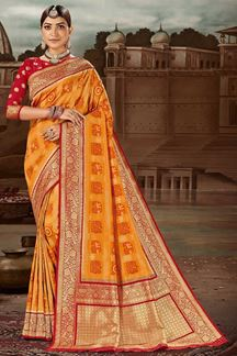 Picture of Blissful Red & Yellow Colored Festive Wear Banarasi Silk Saree