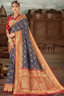 Picture of Imposing Blue & Red Colored Festive Wear Banarasi Silk Saree