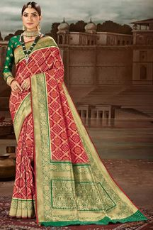 Picture of Gleaming Red & Green Colored Festive Wear Banarasi Silk Saree
