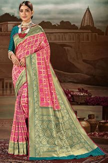 Picture of Glowing Pink & Teal blue Colored Festive Wear Banarasi Silk Saree