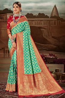 Picture of Exceptional Teal blue & Red Colored Festive Wear Banarasi Silk Saree