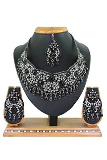 Picture of Beautiful Black Colored Stone Imitation Necklace Set