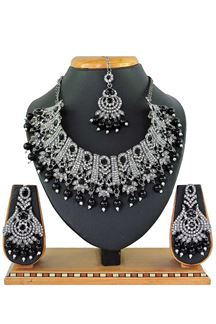 Picture of Bollywood style Black Colored Stone Imitation Necklace Set