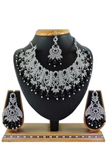 Picture of Fancy Black Colored Stone Imitation Necklace Set