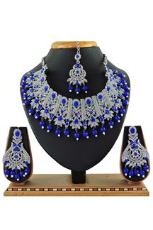 Picture of Elegant Blue Colored Stone Imitation Necklace Set