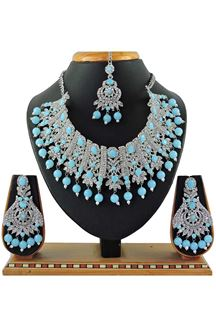 Picture of Flamboyant Light Blue Colored Stone Imitation Necklace Set