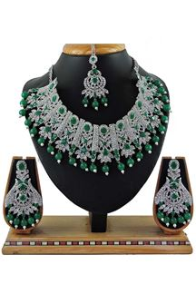 Picture of Amazing Green Colored Stone Imitation Necklace Set