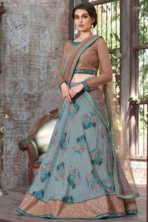 Picture of Elegant Light Blue & Peach Designer Lehenga Choli