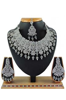 Picture of Attractive Grey Colored Stone Imitation Necklace Set