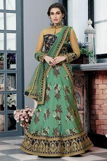 Picture of Smashing Blue & Green Colored Designer Lehenga Choli