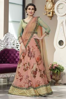 Picture of Aspiring Green & peach Colored Designer Lehenga Choli