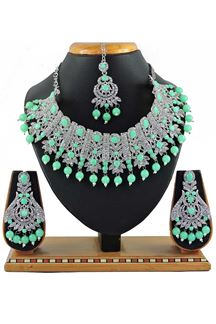 Picture of Exclusive Fluorescent Green Colored Stone Imitation Necklace Set
