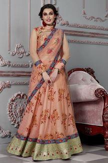 Picture of Alluring Peach Colored Designer Lehenga Choli