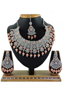 Picture of Party Wear Peach Colored Stone Imitation Necklace Set