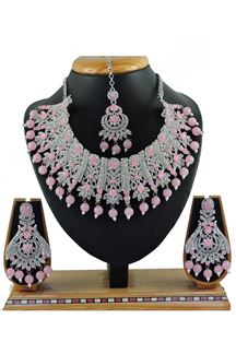 Picture of Lovely  Pink Colored Stone Imitation Necklace Set